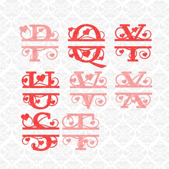 Heart Swirly Fancy Valentines Split Alphabet Monogram SVG  Ai EPS Scalable Vector Instant Download Commercial Use Cricut Silhouette