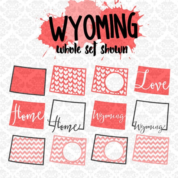 Wyoming Chevron Outline Home Love Monogram State Set SVG DXF Ai EPS Vector Instant Download Commercial Use Cutting File Cricut Silhouette