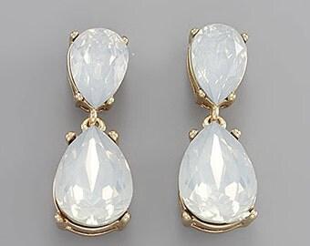 Moonstone Crystal Tear Drop Crystal Earrings