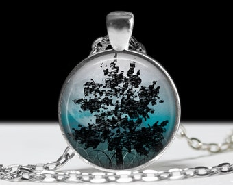 Tree Pendant Tree Jewelry Tree Pendant Charm Tree Moon Necklace