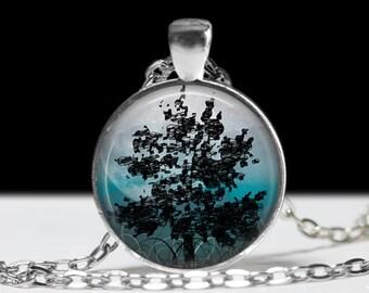 Tree Pendant Tree Jewelry Tree Pendant Charm Tree Moon Necklace