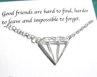 Best Friend Gift, Best Friend Necklace,Friendship Necklace |A5| Gift For Friend/Birthday Gift/Dainty Necklace/ Silver Diamond necklace