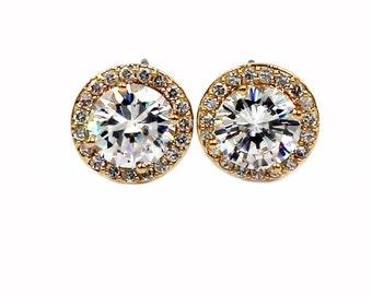 Shining single crystal earrings
