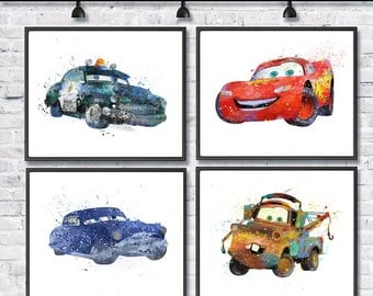 McQueen Watercolor Print Set, Disney Art, Pixar, Cars Art, Lightning McQueen, Mater Sheriff Movie Poster, Nursery, Kids Room Decor, Wall Art