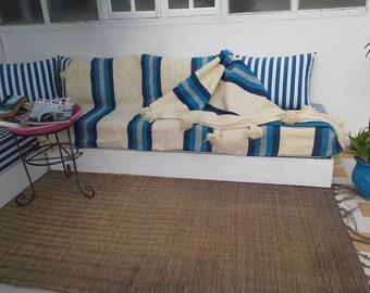 Moroccan Pom Pom Blanket Natural Turquoise