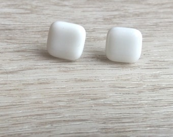 little white square stud earrings, small earrings studs, small stud earrings