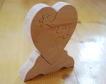 Wedding gift Heart with hands Valentin day gift Woooden decor Home decor Holidays gift Wooden heart Heart puzzle