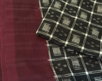 Black and White and Maroon Handwoven Double Ikat Cotton Saree