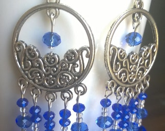 Blue Beads Chandelier Earrings, Faceted Beads Earrings, Dangle Earrings, Blue Glass Beads Earrings