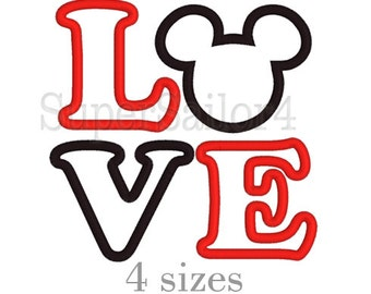 LOVE Mickey applique design, LOVE applique design, Mickey applique design, Mouse applique