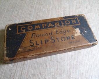 SALE!!! Vintage Companion Slip Stone Sharpening Stone in Original Box