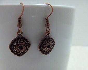 Coppertone Dangle Drop Earrings Flower Charm Evening Wear Daytime Wear