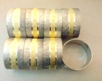 Vintage Silver & Gold Napkin Rings,Set of 8, Napkin Rings, Silver and Gold Napkin Rings, Holiday Table, Wedding,Showers