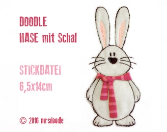 Embroidery - rabbit with scarf - Doodle 13 x 18