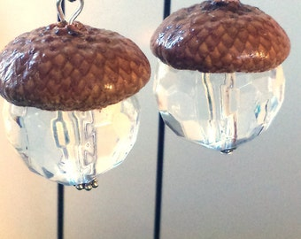 Fairy Garden Miniature Lanterns. Fairy Lights. Set Of 2 Hanging Acorn Cap  Lanterns With