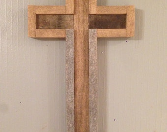 Wood Cross, Crucifix, Reclaimed, Oak, Distressed, Wall Hanging, Church, Jesus, Primitive, Relegious, Hanging