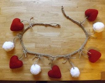 Hearts and Fluffy Snowballs Garland