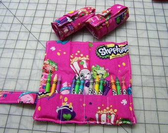 1 Girls Shopkins Crayon Rolls with 12 Crayons Each
