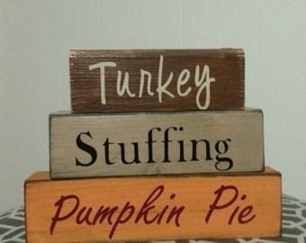 Turkey, Stuffing, Pumpkin Pie: Stacking Blocks