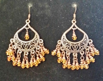 Copper chandelier earrings with amber crystals