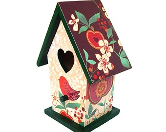Small Decorative Birdhouse, Brown Red and Green Birdhouse Decor, Papered Birdhouse, Decoupage Birds and Flowers Decor