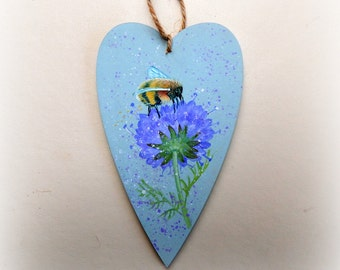Painted Wooden Heart  -  Bumble Bee and Flower