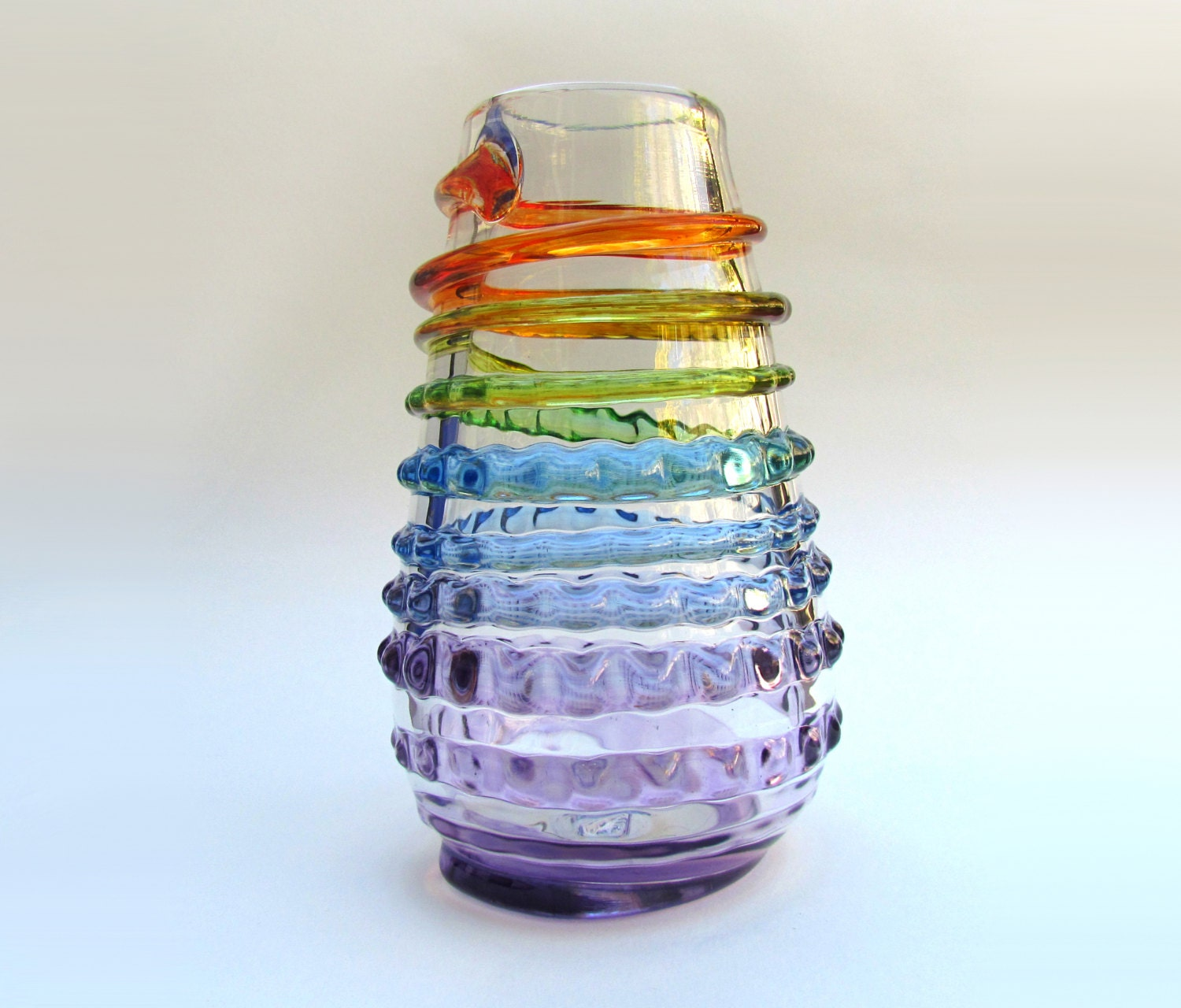 Glass Vase With Rainbow Spiral Colorful Flower Vase