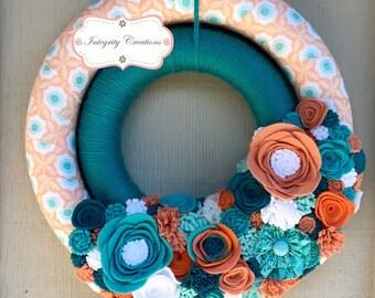 Summer Wreath - Double Wreath - Yarn Wreath - Cloth Wreath