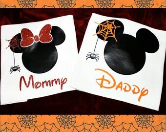 Minnie & Mickey family Halloween (Spider) GLITTER T-shirt
