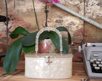 Clear Carved Lucite Marbleized Wrapped Basket Style Purse