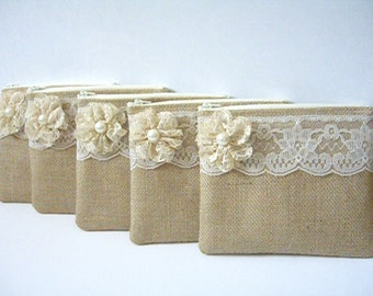 Set of 6 - Burlap And Lace Clutch - Burlap Makeup Bag - Ivory Clutch - Flower Girl Gift - Cosmetic Bag - Rustic Clutch - Bridesmaid Gift