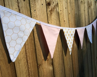 Bunting Flags - Gold Geo, Cross & Soft Pink - F019