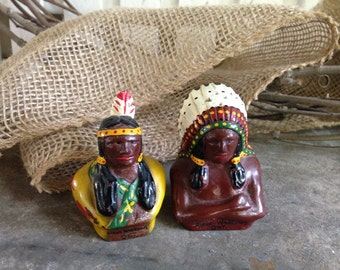 Antique Native American Salt and Pepper Shakers / S and P shakers