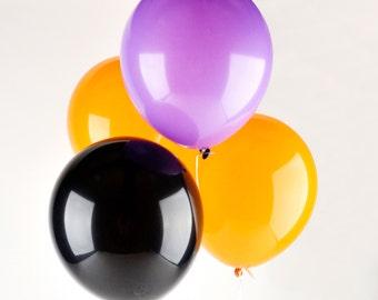 10 Halloween assorted balloons: black, orange, purple / HALLOWEEN PARTY