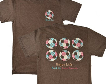 Kick It Enjoy Life Soccer Brown T-shirt - Was 19.95 NOW 11.97