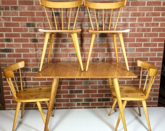 Paul McCobb Planner Group Dining Room Table Four Chairs Two Leaves