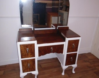 Mahogany dressing table reburished in Wevet (white)