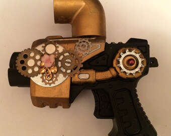 Free Shipping, Steampunk toy gun with gears, porcelain rose, prop gun, toy gun, upcycled jewelry parts for outfits, role playing, cosplay