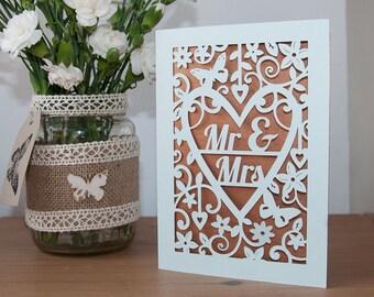 Wedding Card Mr & Mrs - Handmade Paper Cut - 5x7 Inches