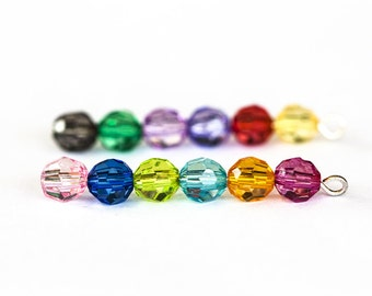 1426_Transparent beads 6 mm, Multicolored beads, Plastic beads, Round beads of various colors Rondelle acrylic, Faceted roundels_200 pcs
