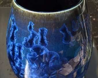 Shimmering Blue Crystalline Vase