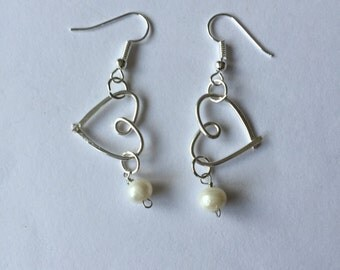 Silver Wire Hearts With Pearls Earrings