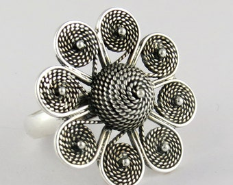 Sunflower !! 925 Sterling Silver Ring| Designer Ring| Plain Silver Ring| 8.0 US