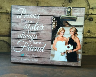 Personalized Picture Frame, Gift For Sister, Best Friend Gift, Initiation Gift For College, Wedding Gift