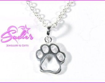 sterling silver paw print pendant on Sterling silver chain