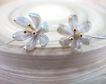 Flower Silver Earrings - Long Ear Wire Vermeil 925 Sterling Silver Jewelry Accessory Gift Ideas & Daily Wear
