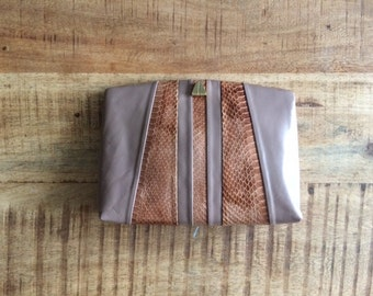 Leather Taupe Clutch With Optional Strap