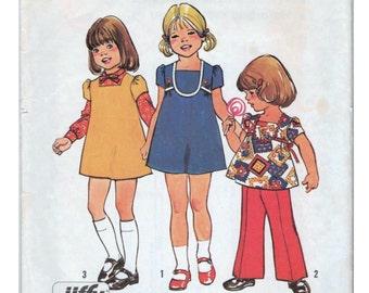 Girls Mini Dress Girls Top and Pants SIMPLICITY 6870 Girls Size 4 1970s Girls Dress Girls 1970s Outfit Little Girls Dress Pattern
