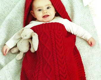 PDF Knitting Pattern for a Babies Cabled Sleeping Bag or Cocoon - Instant Download 99p