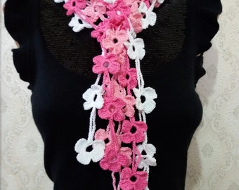 Crochet  Pink - white Flower daisy scarf Floral scarf women Crochet Lariat scarf Crochet Leaf scarf  Neck accessories